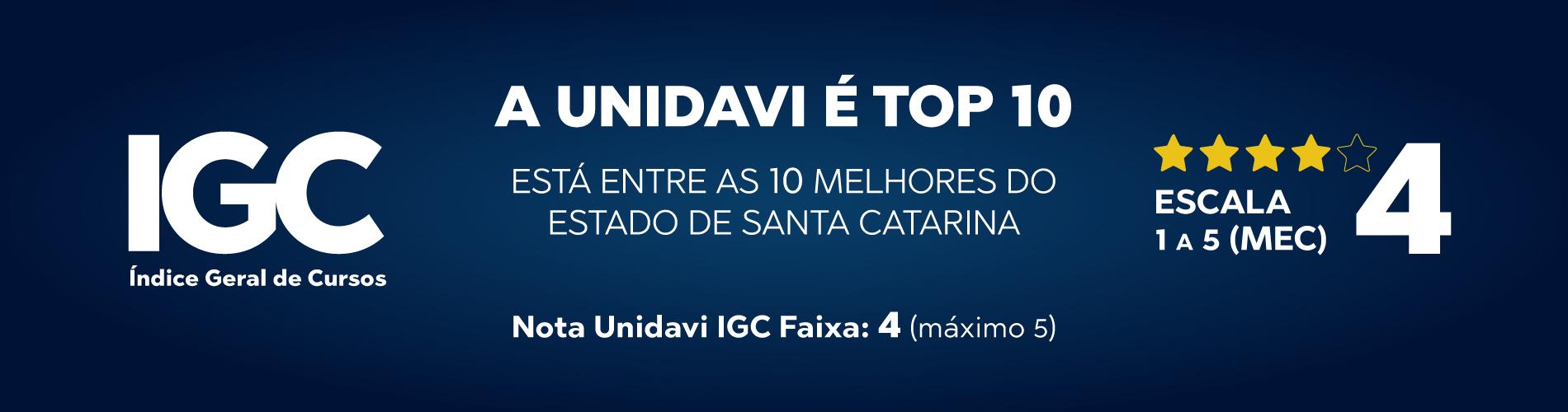 A Unidavi Está Entre as 10 Melhores do Estado de Santa Catarina