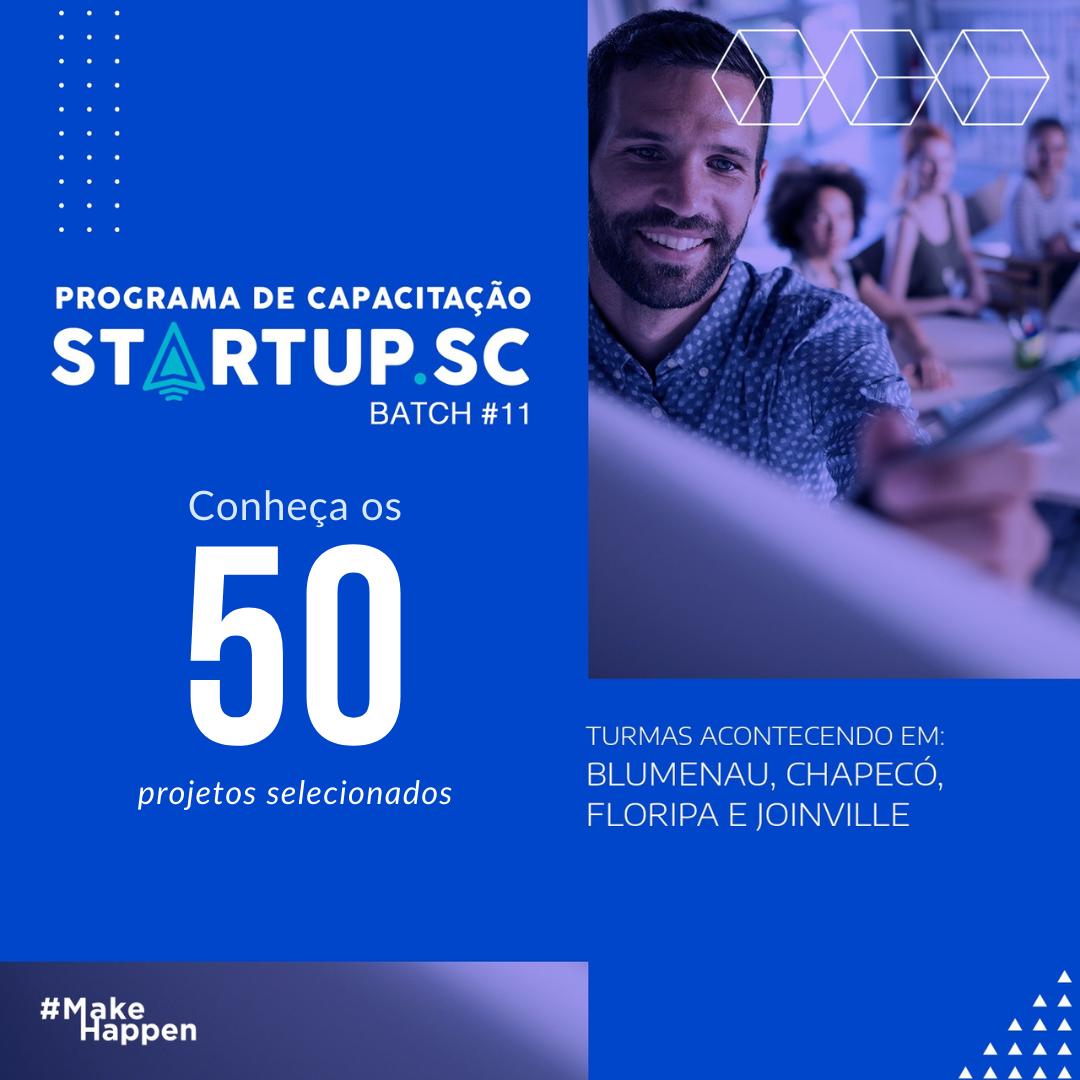 Sebrae Anuncia 50 Startaups que comporão a 11ª Turma do Programa de Capacitação Startups SC
