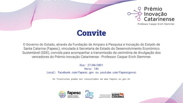 Convite Prêmio Inovação Catarinense