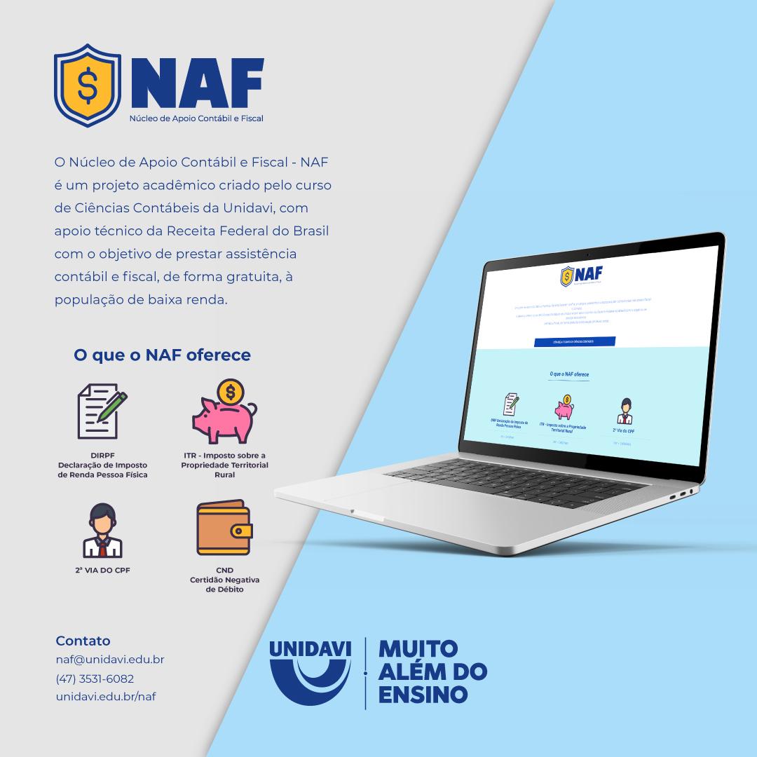 O NAF é o seu apoio contábil fiscal na Unidavi!