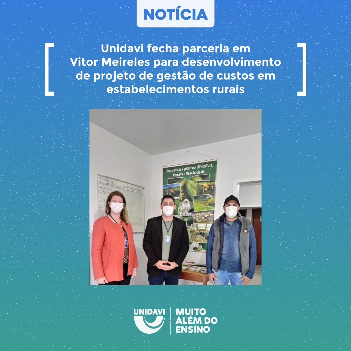 Unidavi fecha parceria em Vitor Meireles para desenvolvimento de projeto de gestão de custos em estabelecimentos rurais