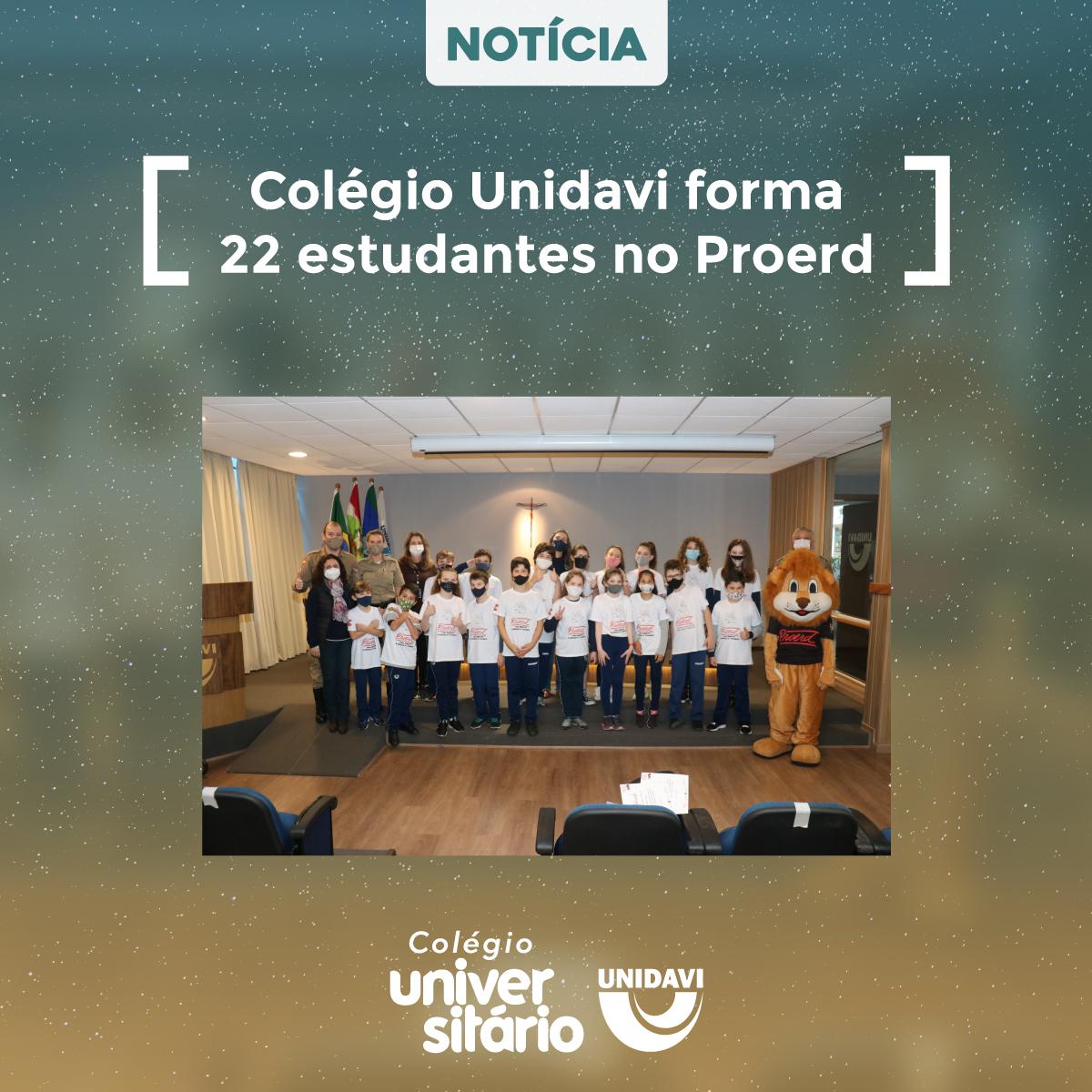 Colégio Unidavi forma 22 estudantes no Proerd