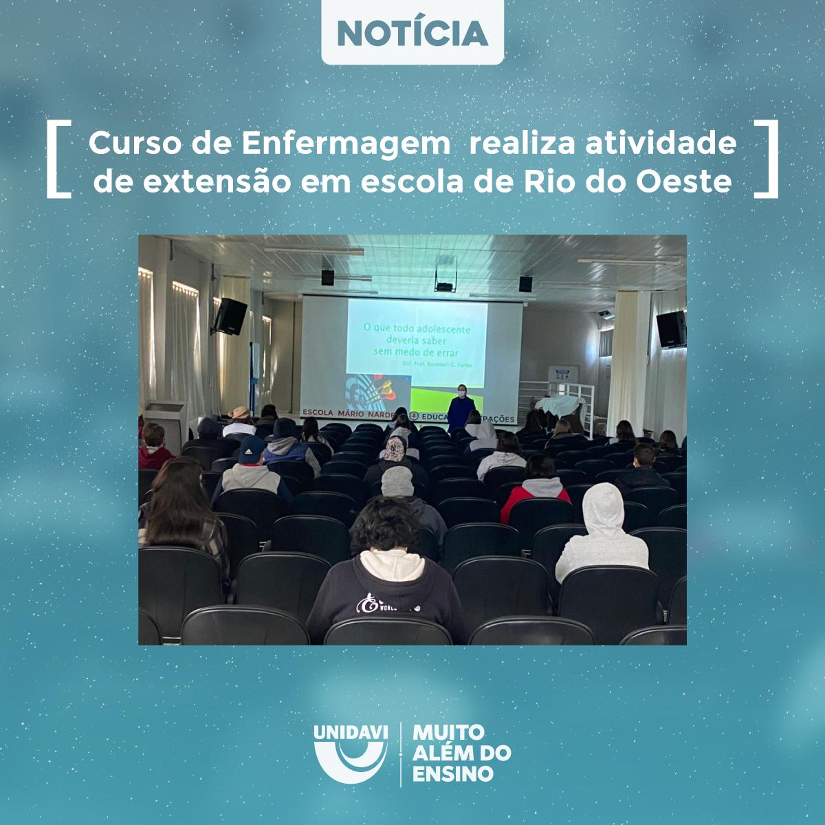 Curso de Enfermagem realiza atividade de extensão em escola de Rio do Oeste