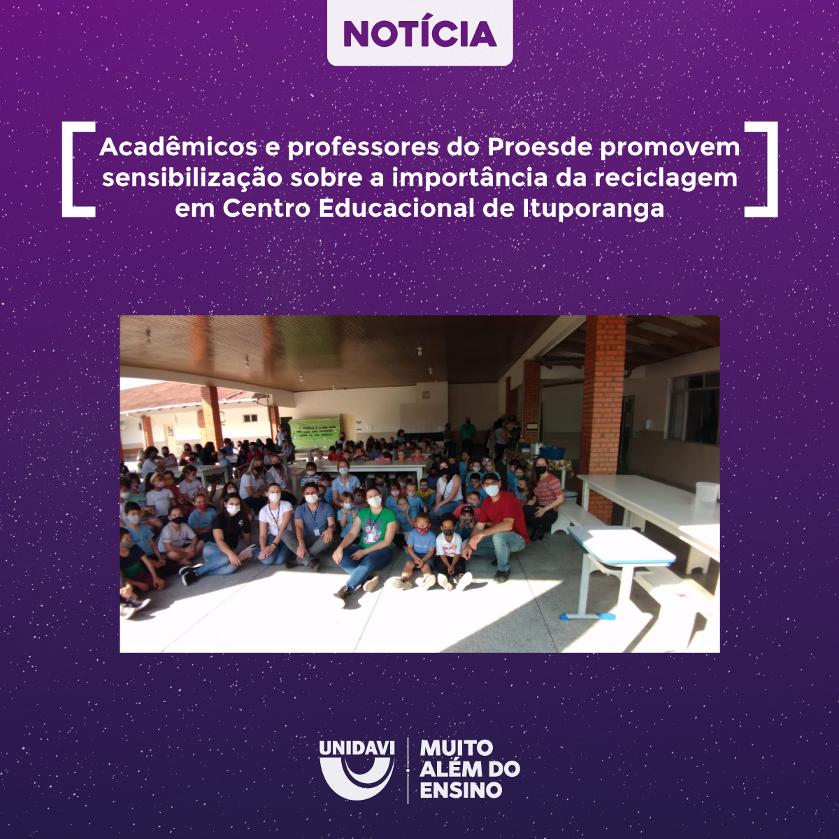 Acadêmicos e professores do Proesde promovem sensibilização sobre a importância da reciclagem em Centro Educacional de Ituporanga