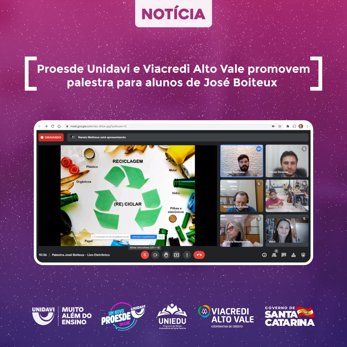 Proesde Unidavi e Viacredi Alto Vale promovem palestra para alunos de José Boiteux