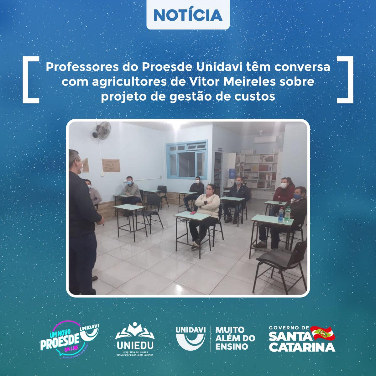 Professores do Proesde Unidavi têm conversa com agricultores de Vitor Meireles sobre projeto de gestão de custos