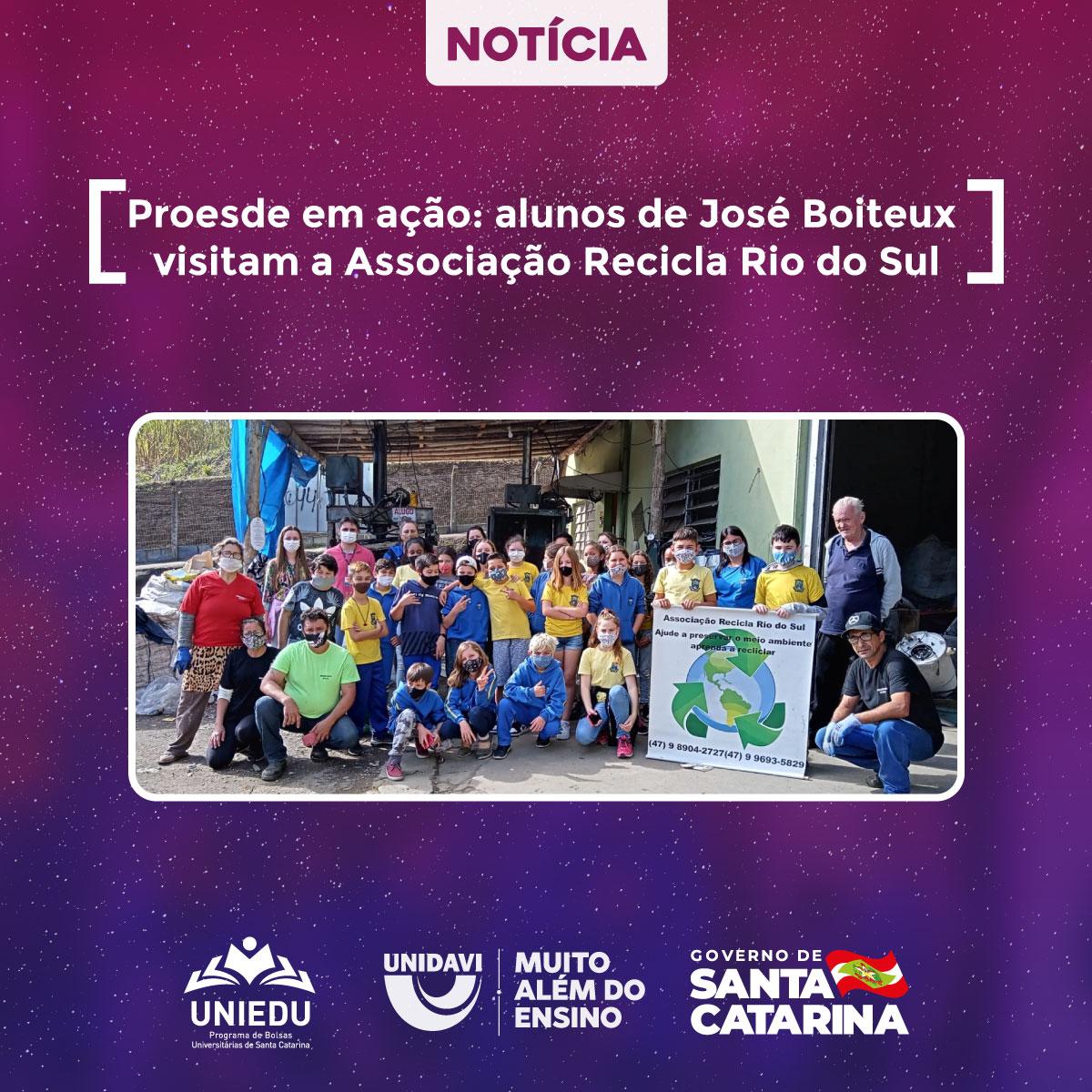 Proesde em ação: alunos de José Boiteux visitam a Associação Recicla Rio do Sul