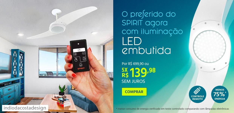 Ventilador de Teto SIRIT com iluminação LED embutida e Controle Remoto