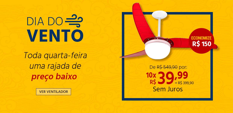 Ventilador de Teto SPIRIT 302 Vermelho Lustre Globo - Oferta Dia do Vento