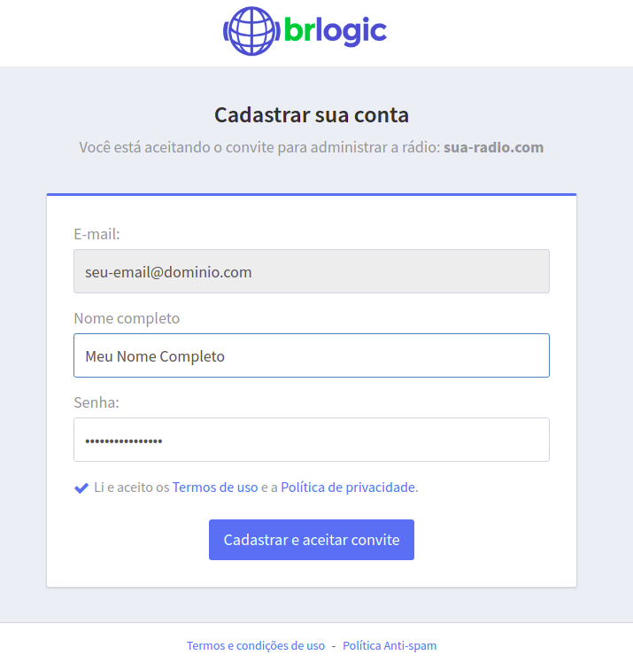 Migrando o acesso de administrador para a sua nova Conta BRLOGIC