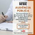 AUDIÊNCIA PÚBLICA 05/10 - LDO 2022