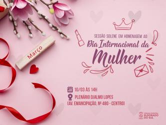 Câmara promove Sessão Solene em alusão ao Dia da Mulher