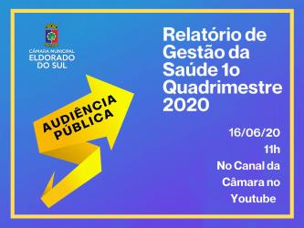 Câmara Municipal convida para a Audiência Pública de Apresentação do Relatório Quadrimestral de Gestão da Saúde (RQGS) por Videoconferência