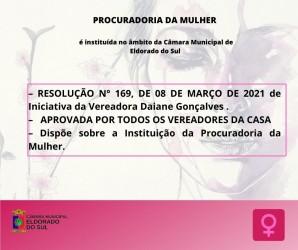 Criação da Procuradoria da Mulher foi pauta do encontro Semanal dos Vereadores. Na sessão de 09 de março, foi aprovada, de forma unanime, RESOLUÇÃO QUE INSTITUI A PROCURADORIA DA MULHER NO ÂMBITO DA CÂMARA MUNICIPAL.