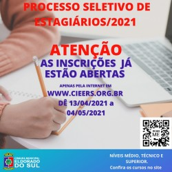 Processo seletivo para estagiários 2021