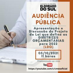 AUDIÊNCIA PÚBLICA DE DISCUSSÃO DO PROJETO DE LEI DE DIRETRIZES ORÇAMENTÁRIAS PARA 2022