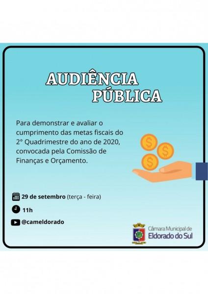 Apresentação das Metas Fiscais do 2° Quadri acontece nesta terça 29/09 e terá participação garantida da população pelo YouTube.