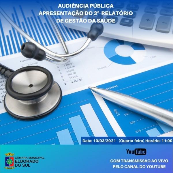 Câmara convida para acompanhar a Audiência Pública de Apresentação do Relatório de Gestão da Saúde na próxima Quinta-feira, 10 de Março, pelo seu Canal do YouTube.