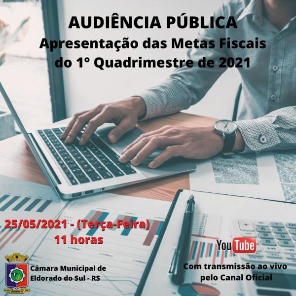 Audiência Pública de Apresentação das Metas Fiscais do 1º Quadrimestre de 2021