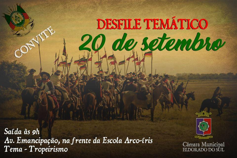 Convite para Desfile Temático de 20 de setembro.
