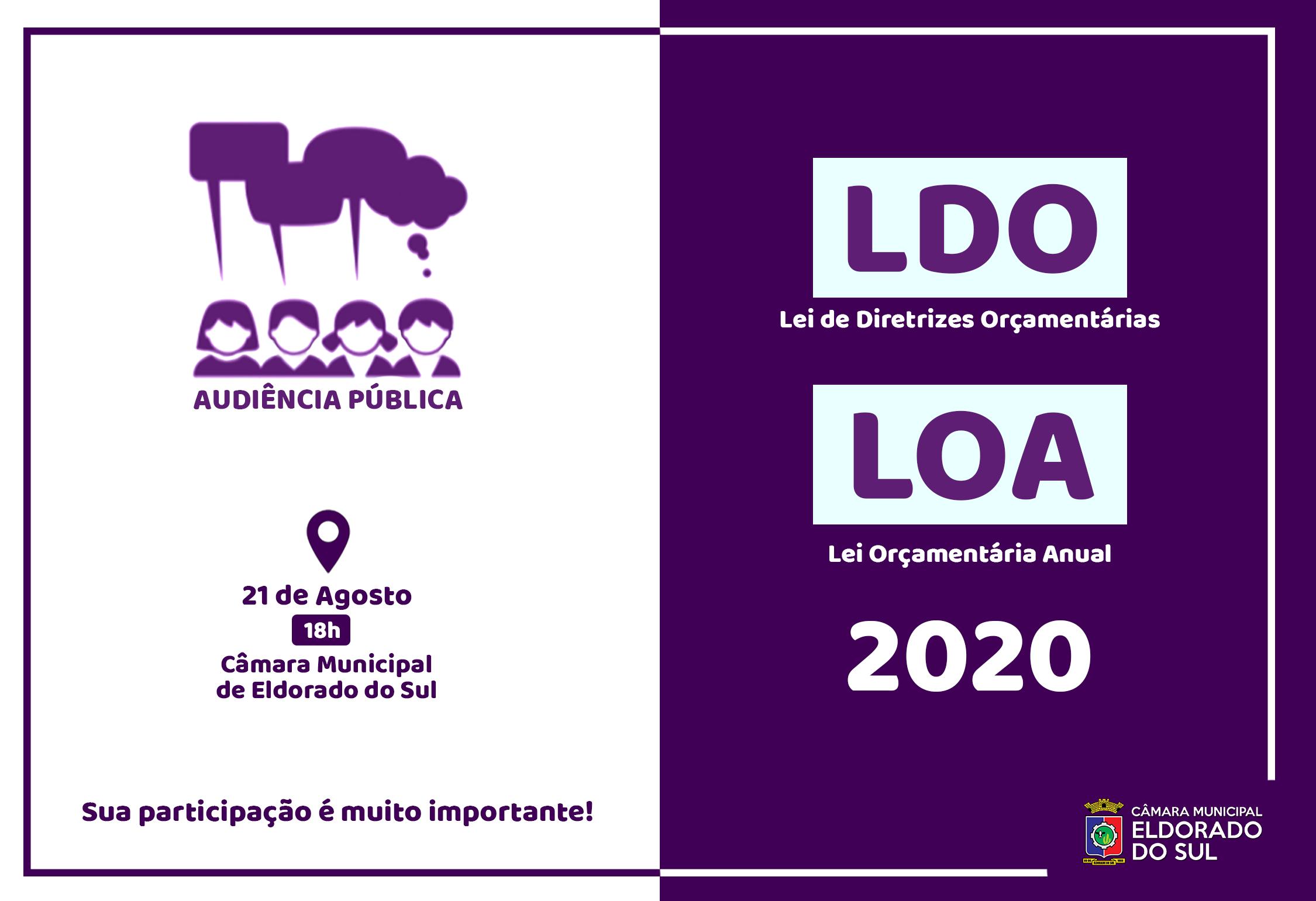 Audiência Pública para a apresentação da LDO e LOA 2020