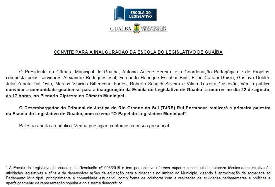 Convite de Inauguração da Escola do Legislativo - Palestra do Desembargador do TJRS Rui Portanova