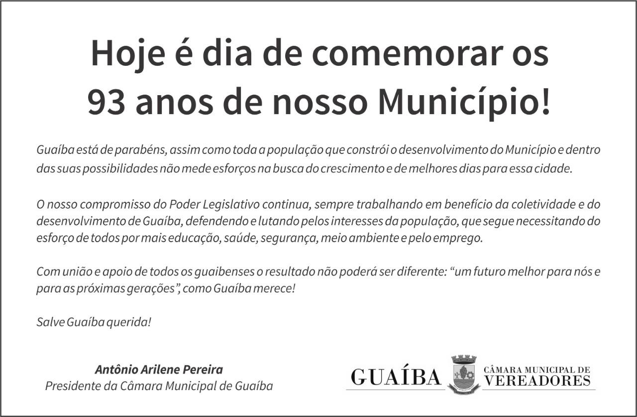 Guaíba, parabéns pelos 93 anos!