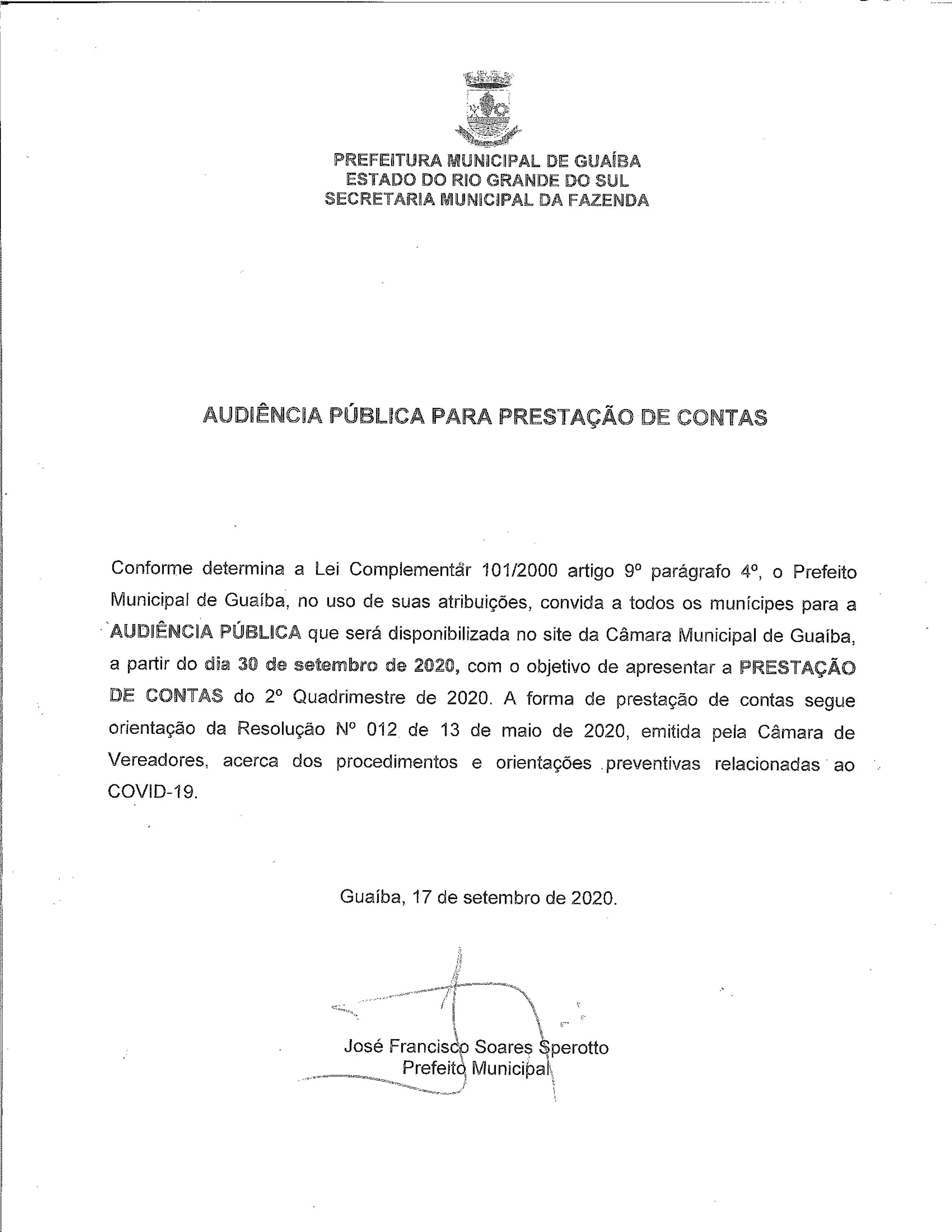 Edital de Audiência Pública para Prestação de Contas 2º Quadrimestre 2020