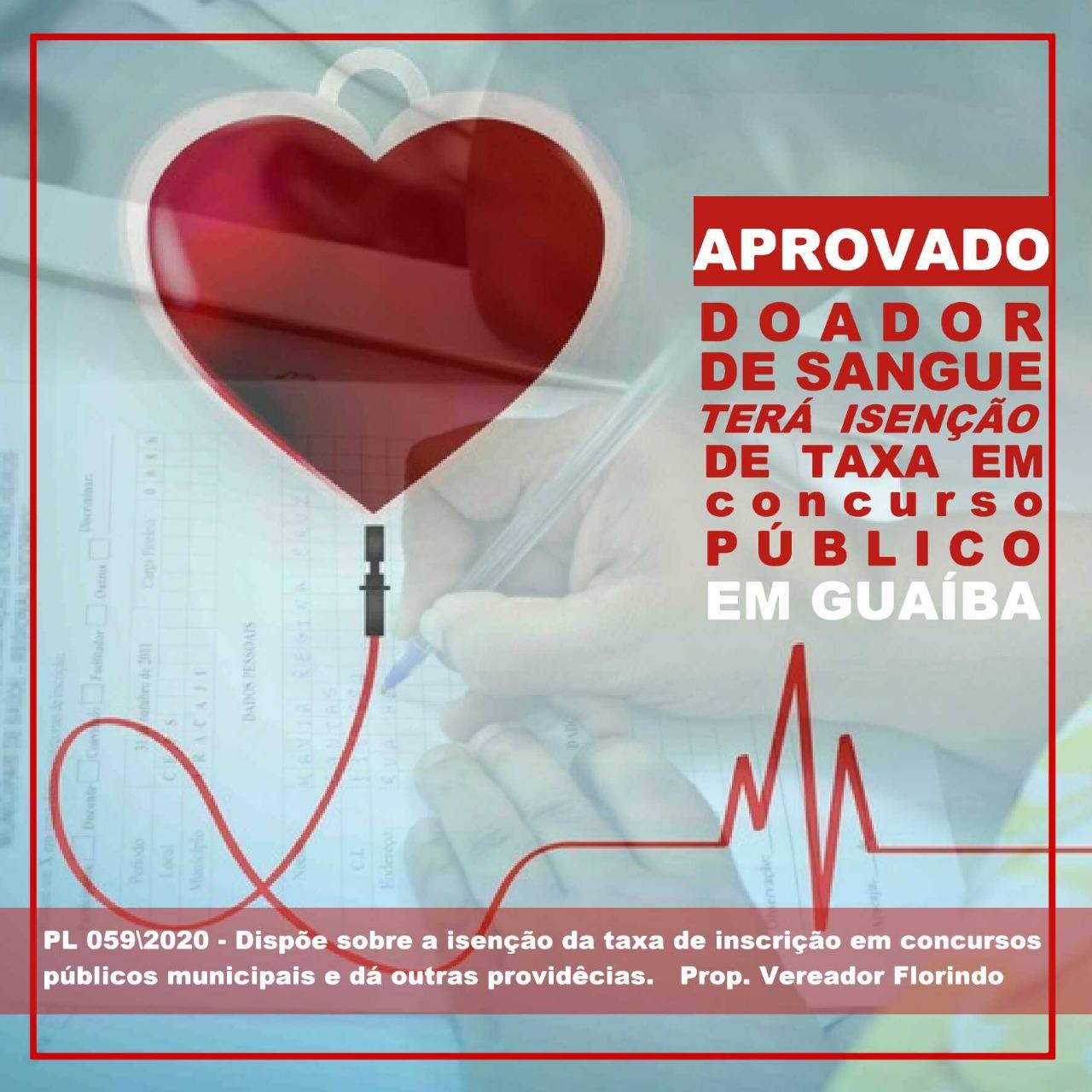 Isenção em Concurso Público - Doadores de Sangue deverão ter gratuidade de inscrição em provas do Município.
