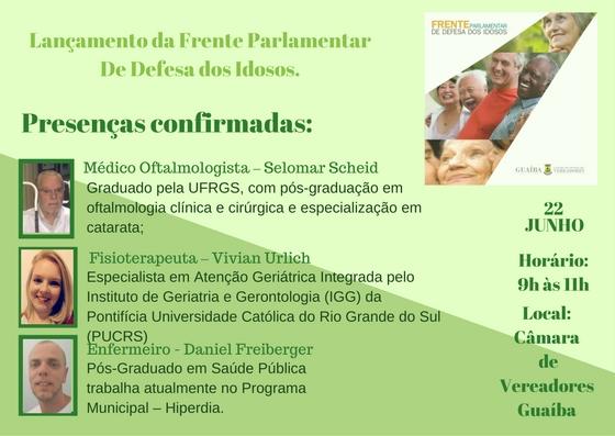 Frente Parlamentar de Defesa dos Idosos - Conheça os palestrantes que abordarão temas sobre a Saúde na Terceira Idade