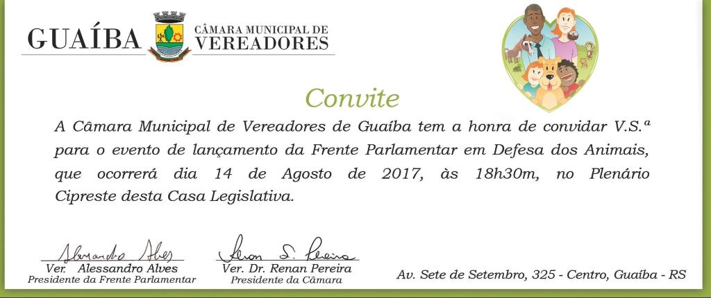 Lançamento da Frente Parlamentar em Defesa dos Animais