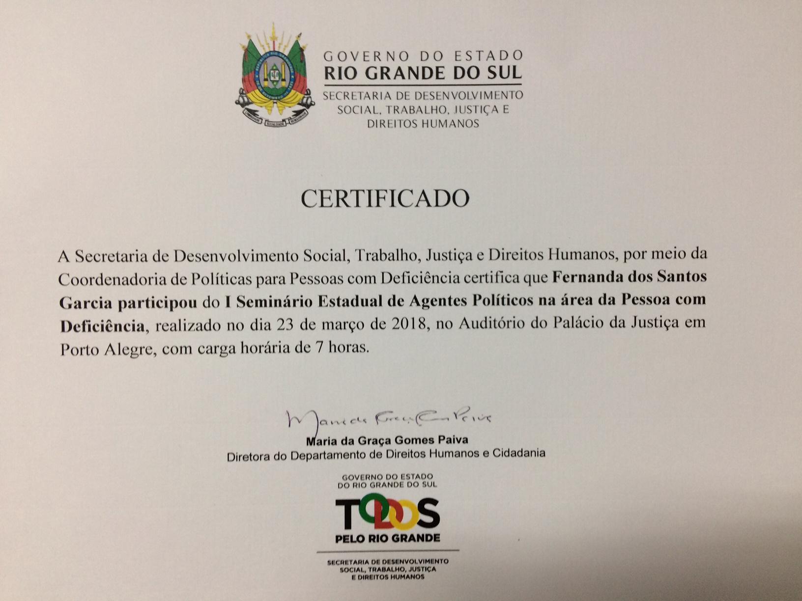 Vereadora Fernanda Garcia participa de Seminário para Agentes Políticos na Área da Pessoa com Deficiência