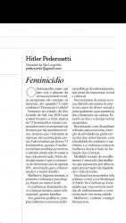 Artigo do Vereador Hitler Pederssetti sobre Feminicídio é publicado pelo Jornal Valei dos Sinos