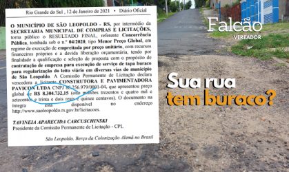 Vereador Falcão pede informações sobre R$ 8,3 milhões que serão investidos em tapa buraco