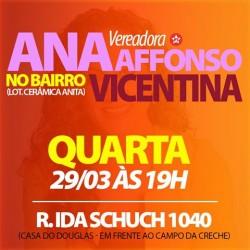Ana Affonso leva o Gabinete Itinerante ao bairro Vicentina, na quarta-feira (29/3)