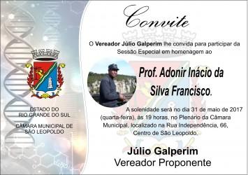 Convidado por Júlio Galperim, Prof. Adonir Francisco realizará palestra na Câmara Municipal
