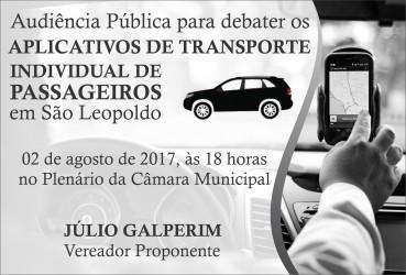 Júlio Galperim propõe audiência sobre Uber e outros aplicativos de transporte de passageiros