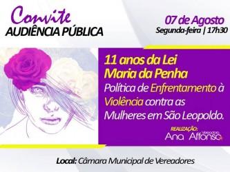 Audiência Pública proposta pela vereadora Ana Affonso debate os 11 anos da Lei Maria da Penha