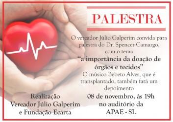 Palestra na APAE abordará doação de órgãos e tecidos