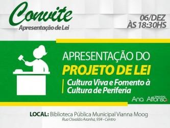 Vereadora Ana Affonso apresentará Projeto de Lei que valoriza a cultura produzida nas regiões de periferia
