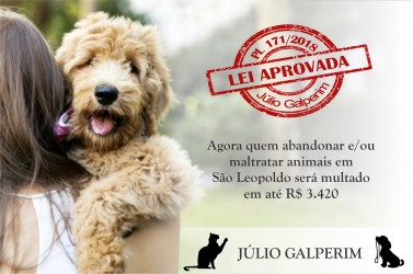 Aprovado projeto que punirá com multa de até R$ 3.420 quem maltratar animais em São Leopoldo
