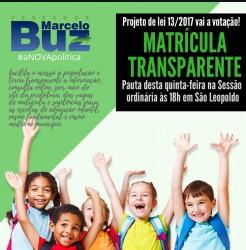 Projeto de Lei do Vereador Marcelo Buz que propõe Matrícula Transparente nas Escolas será votado nesta quinta