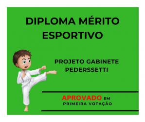 Projeto do Gabinete Pederssetti criando o Diploma Mérito Esportivo aprovado em primeira votação