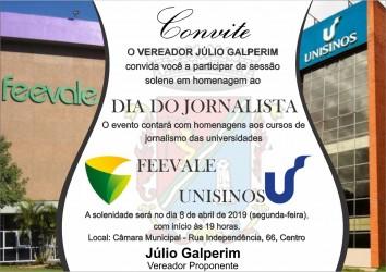 Cursos de Jornalismo da Unisinos e Feevale serão homenageados em São Leopoldo