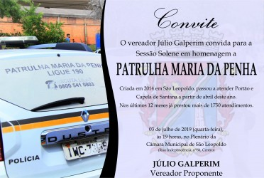 Patrulha Maria da Penha será homenageada pela Câmara de Vereadores de São Leopoldo