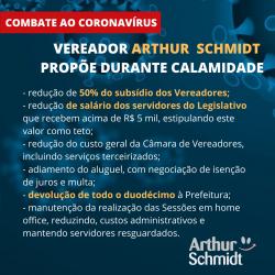 Arthur Schmidt cria seis medidas antigastos para combate ao coronavírus