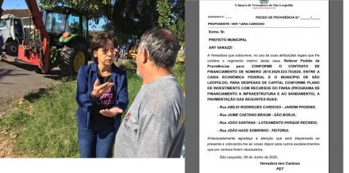 Vereadora Iara Cardoso reitera pedido de pavimentação de ruas