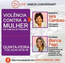Vereadora Iara Cardoso promove live sobre violência contra a mulher
