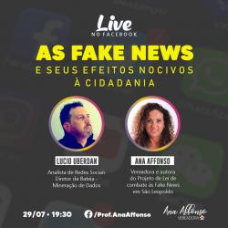 Fake News e Cidadania são temas da live da vereadora Ana Affonso