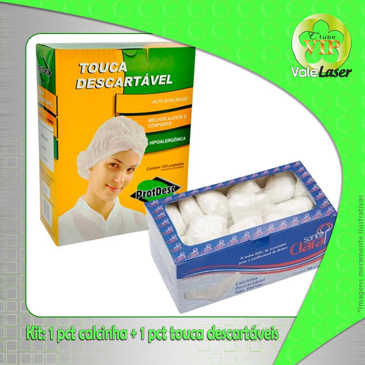 Kit 1 pct calcinha descartável + touca descartável